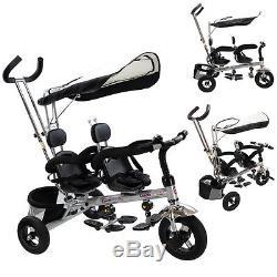 4 En 1 Jumeaux Enfants Bébé Siège Double Rotatif De Sécurité De Tricycle De Poussette Avec Panier