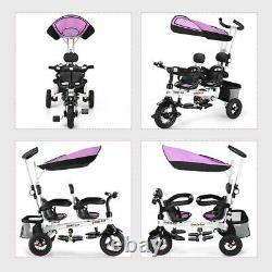 4-en-1 Baby Twins Double Easy Steer Poussette Jouet Tricycle Détachable Kids Gift