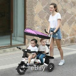 4-en-1twins Double Kid Easy Steer Poussette Enfants Jouet Tricycle Detachable Rose