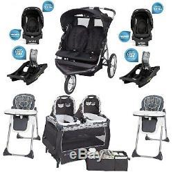 Baby Boy Double Jogger 2 Sièges Auto Avec Des Bases 2 Chaises Twins Playard