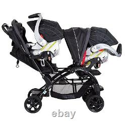 Baby Double Poussette Combo Twins Nursery Center Newborn Siège De Voiture & Base Swing