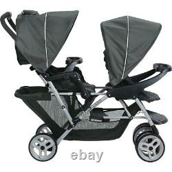 Baby Double Poussette Twin Wagon Easy Fold W Canopy Deux Black Seat Child Infant