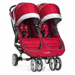 Baby Jogger City Mini Double Twin Poussette, Crimson / Gris