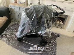 Baby Jogger City Mini Gt Double Buggy Gris Et Noir Belle Pram Double Raincover