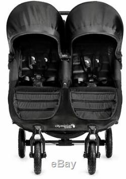 Baby Jogger City Mini Gt Double Twin All Terrain Poussette Gris Acier Nouveau