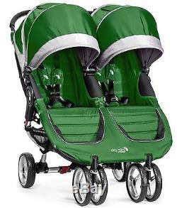 Baby Jogger City Mini Poussette Double Double Evergreen / Gris Nouveau