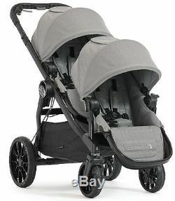 Baby Jogger City Select Lux Twin Double Poussette Avec Second Siège Slate Box Ouvert
