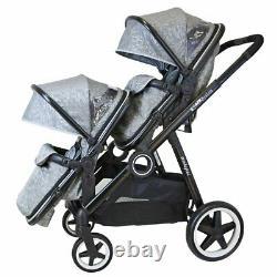 Baby Pram System Double Twin Travel Tandem Poussette Buggy Poussette Argent Nouveau