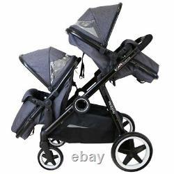 Baby Pram System Double Twin Travel Tandem Poussette Poussette Buggy Nouveau
