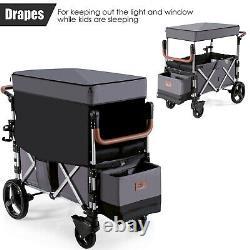 Babyjoy 2 Passenger Push Pull Pliage Twin Double Poussette Wagon Avec Rideaux De Canopy