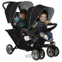 Bébé Graco Noir Tandem Twin Double Landau Poussette Buggy Raincover Et 2 Sièges D'auto