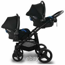Bébé Pram Bexa Duo Pour Twins, Double + Poussette 2xcar Seat, 4in1 Système Voyage