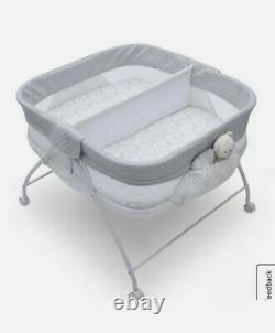 Berceauet Twin Infant Sleeper Double Easy Fold Ultra Compact Baby Crib Aqua Geo