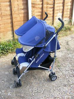 Blue Maclaren Twin Triumph Double Seat Umbrella Poussette Poussette Poussette