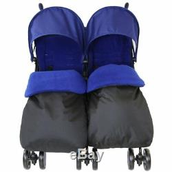 Blue Zeta Double Poussette Landau Poussette Buggy Complete Rain Cover Chancelière