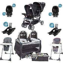 Boy & Girl Set Combo Poussette Bébé 2 Sièges Auto 2 Chaises Twins Centre Nursery