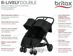 Britax B-vif Lightweight Rapide Double Bébé Double Fold Bébé Raven Nouveau