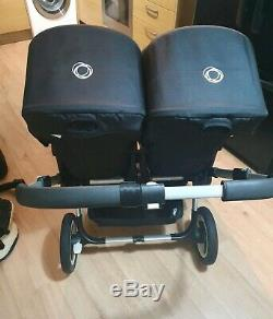 Bugaboo Âne Double Pram Double Buggy Couffins + Charges Supplémentaires Menthe Noir / Rouge