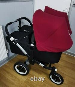 Bugaboo Donkey 2 Twin Ruby Red Hooods Grande Condition