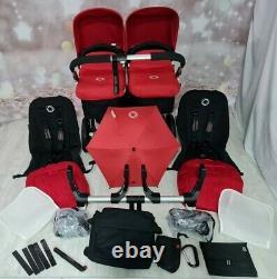 Bugaboo Donkey Twin Double Pushchair Pram Unisex Noir / Red Mono/ Duo New Hoods