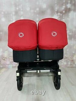 Bugaboo Donkey Twin Pram Unisexe Noir / Rouge Mono/ Duo Chapeaux Rouges + Roues Noires
