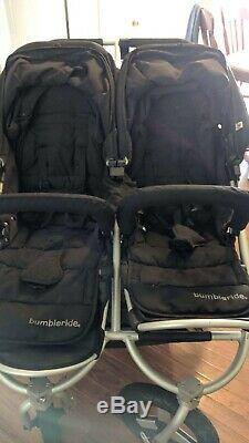 Bumbleride Indie Twin Poussette Double Noire W Bassinet Excellent Etat