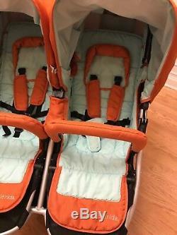 Bumbleride Indie Twin Poussette Double Orange Double Jogger Tout Terrain Standard