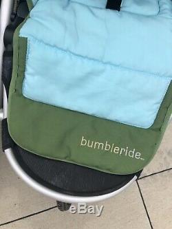 Bumbleride Indie Twin Seagrass Double Jogger Excellent Cond. Avec Adaptateur Pour Bébé