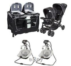 Combo Bébé Double Poussette Twins Nursery Centre Avec Bassinets Portable 2 Balançoires