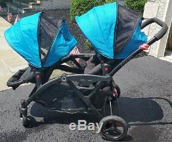 Contours Options Elite Tandem Double Twin Poussette Laguna Bleu Adaptateur Chicco