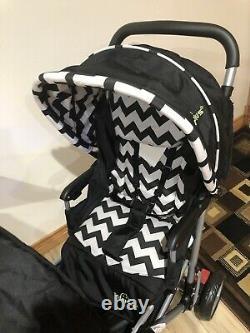 Costway Pliable Twin Double Poussette, Noir Et Blanc
