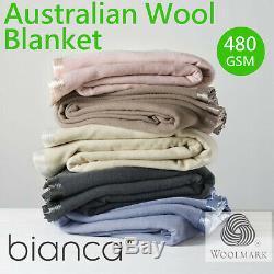 Couverture En Laine Australienne Par Bianca 480 G / M² Toutes Tailles Woolmark Accréditée
