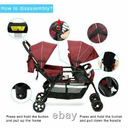 Double Baby Stroller Twin Tandem Infant City Car Seat Carrier Travel Carriage