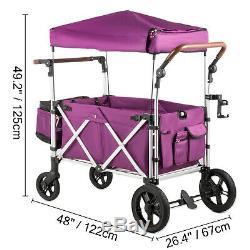 Double Bébé Double Poussette Bébé Wagon 2 Passager Facile Repliableà Canopy Sac Violet