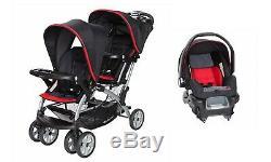 Double Bébé Poussette Avec Siège D'auto Twins Sit N Support Système Voyage Set Nouveau
