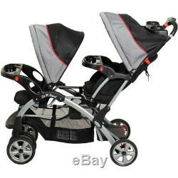 Double Bébé Poussette Infant Double Jogging Buggy Transport Tandem Siège De Voiture Plié Nouveau