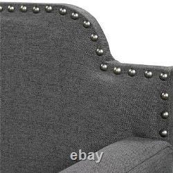 Double Lit De Jour Rembourré Twin Taille Polyester Canapé Cadre De Lit Avec Des Lattes En Bois Gris