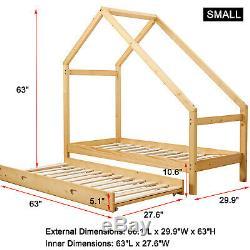 Double Lit De Plancher Pour Enfants Toddler Wood Baby Kids Twin Bed Tent + Mattress