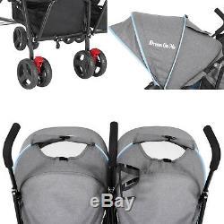 Double Parapluie Poussette En Bleu Foncé Gris Infantile Bébé Toddler Pliable
