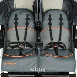 Double Poussette Pour Tout-petit Parapluie Twin Pliant Side By Side Swivel Travel Set