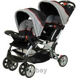 Double Poussette Système De Voyage Baby Twin Car Siège Car Car Car Carrier Avec Porte-cups Gris
