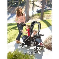 Double Seat Poussette Jumeau Noir Deux Enfants Kid Support Pliant Voiture Pliable Panier