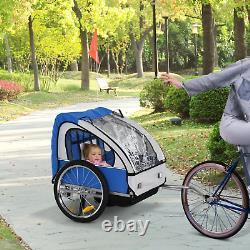 Double Trailer De Vélo Pour Enfants Twins Poussette Bleue De Vélo Jogger Porte-enfant Pli