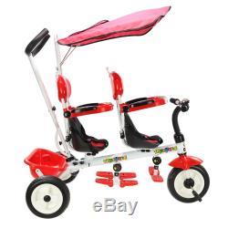 Double Tricycle D'enfants De Poussette De Bébé Tricycle Bébé En Bas Âge Bébé Auvent De Sièges Doubles
