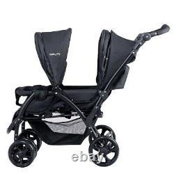 Double Twin Baby Stroller Wagon Pour Nourrissons Easy Fold W Canopy Deux Enfant Siège Noir