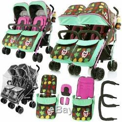 Double Twin Poussette Buggy Poussette Inc Raincover Porte-gobelet Pare-chocs Et Sac