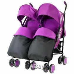 Double Twin Violet Poussette Buggy Inc Chancelières, Sac, Parasol Et Raincover