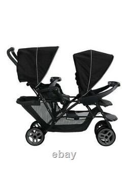 Duo Tandem Twin Seat Buggy Poussette Poussoir Noir / Enfants Gris Enfants Tout-petits