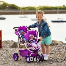 Ella Tandem Poussette Bébé Enfants Jouet Landau Double Buggy Poupées Jumelles Poussette Filles