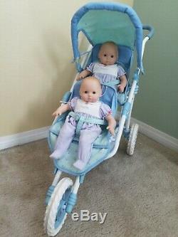 Fille Américaine Bitty Discontinued Poussette Double Double Bébé Avec Des Poupées (2)
